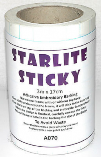 Starlite Sticky Self Adhesive Embroidery Backing Stabiliser various lengths & widths